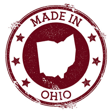 Made in Ohio stamp. Grunge rubber stamp with Made in Ohio text and us state map. Enchanting vector illustration.