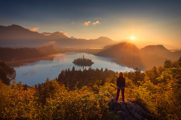Girl looking scenery of Bled lake in Slovenia