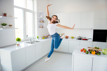Wall Mural - Full length body size view of her she nice attractive lovely girlish feminine cheerful cheery glad slim fit thin slender wavy-haired girl having fun day in modern light white interior style room