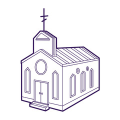 Church icon. Hand drawn line illustration of christian church icon for web design