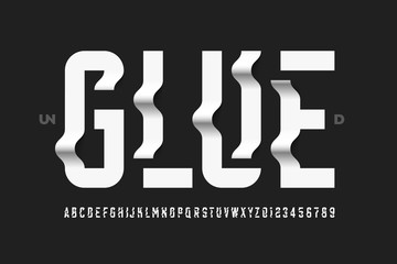 Unglued style modern font design, alphabet letters and numbers