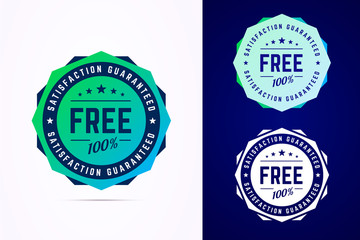 Obraz The round free gradient style sticker, tag, button, badge. Vector badge for promotion your free product or service. Vector illustration - fototapety do salonu