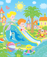 Door stickers Small children sliding down from a waterslide in a summer aquapark, vector illustration in a cartoon style