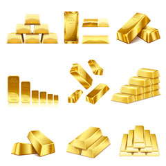 Set of gold bars icon. Financial concept. Vector illustration.