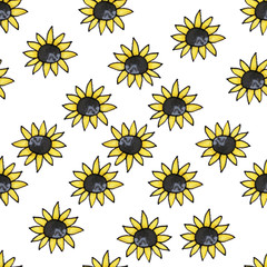 Seamless flower pattern. Sunflowers. Summer flowers. Print for fabric and other surfaces.