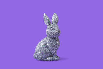 Easter Bunny Rabbit on Bright Purple Background, Conceptual Image with Copy Space