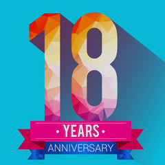 18 Years Anniversary logo. with colorful polygonal design elements.