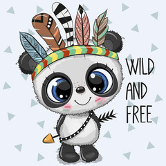Cute Cartoon tribal Panda with feathers