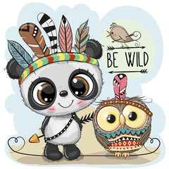 Cute tribal Panda and owl with feathers