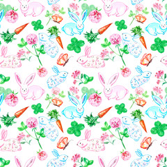 Watercolor cute bunny seamless pattern. Small baby rabbits with carrot, butterfly and clover isolated on white background. Decorative spring print for Easter cards design, kids clothes.