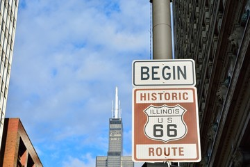 Route 66 sign, the beginning of historic Route 66.