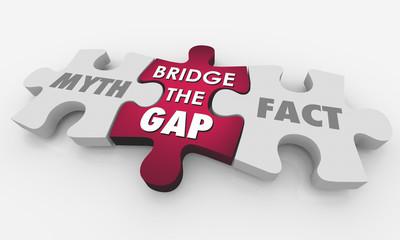 Myth Vs Fact Bridge the Gap Puzzle Words 3d Illustration