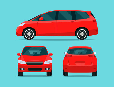 Red minivan isolated. Minivan with side view, back view and front view. Vector flat style illustration.