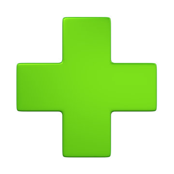 Green Cross Sign Isolated