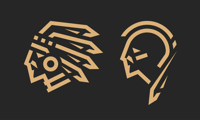 Native American logo, chief and warrior. Vector illustration.