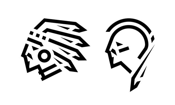 Native American logo, chief and warrior. Vector illustration.