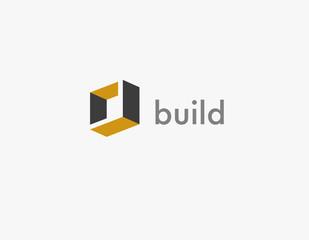Creative logo abstract 3d cube for construction company