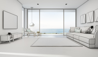 Wall Mural - Sea view living room of luxury summer beach house with large glass door and wooden terrace. TV on white wall against big sofa in vacation home or holiday villa. Hotel interior 3d illustration.