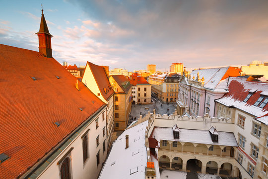 View of the old town from the tower of the city hall, Bratislava, Slovakia.