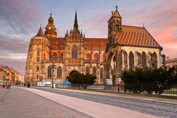 St. Michael chapel and St. Elisabeth cathedral in the main square of Kosice city in eastern Slovakia.