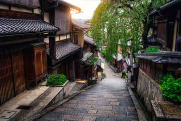 Beautiful street in old town of Higashiyama district, Kyoto City, Japan. The Higashiyama District...