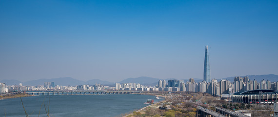 Foto auf AluDibond Seoul Seoul scenery is clear and clear sky without fine dust, South Korea.