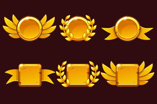 Template Receiving game achievement. Vector illustration with Golden old awards. For game, user interface, banner, application, interface, slots, game development. Icons on separate layers.