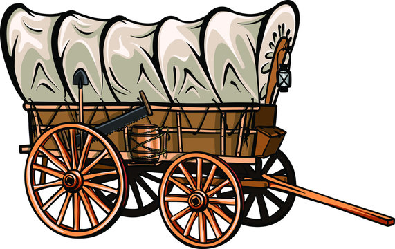 Wild west style wood covered wagon with barrel, shovel, saw and lantern. Hand-drawn western vector.
