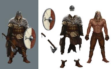 Dress up games viking round shield нelme realistic illustration