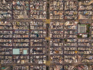 Wall Murals Chicken Aerial view of intersections or junctions in Sham Shui Po, Shek Kip Mei, Hong Kong Downtown. Financial district and business centers in smart city, technology concept. Top view of buildings.