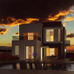 Modernes Eigenheim bei Sonnenuntergang im Sommer