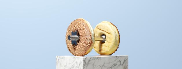 Panorama mit Donut Hantel als Fitness Konzept