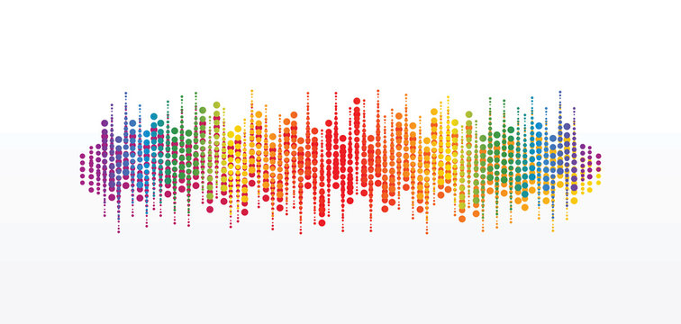 Pulse circle music player. Audio colorful wave logo. Vector equalizer element