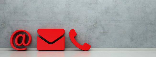 Rote Hotline und Service Kontakt Icons als Panorama