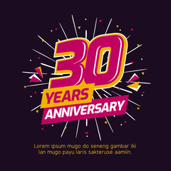 30 years anniversary logo badge. colorful birthday event background vector design