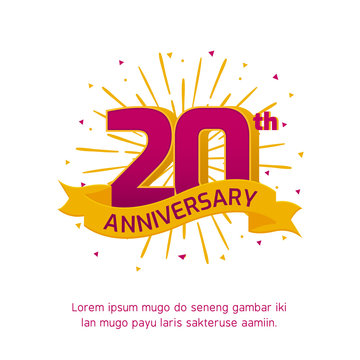 20th anniversary logo badge. colorful birthday event background vector design
