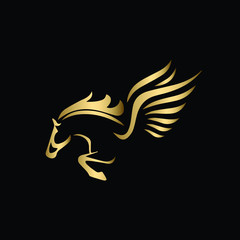 Vector image of a silhouette of a mythical creature of Pegasus