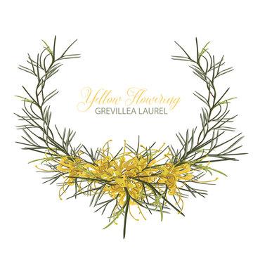 Golden Grevillea Floral Wreath Vector
