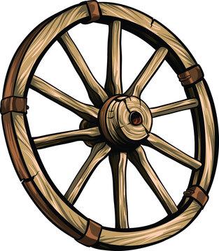 Old wagon wooden wheel vector illustration. Cartoon romantic illustration.