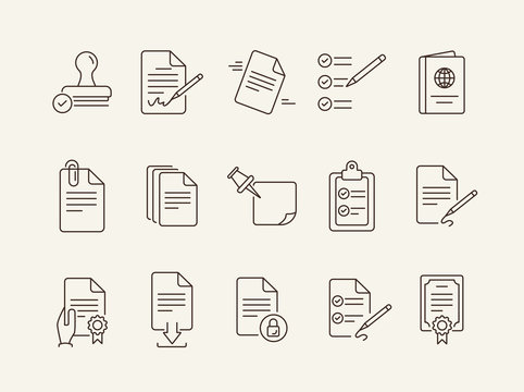 Papers line icon set