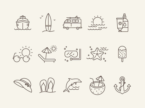 Vacation line icon set