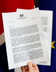 A copy of a letter from Britain's PM May to EU Council President Tusk is seen in this picture illustration