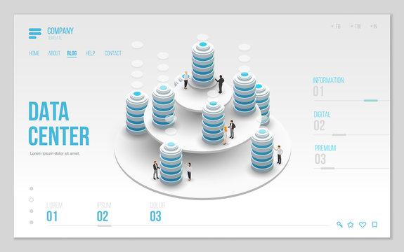 Design website or landing page template. Minimal modern high technology concept for data center with server or hosting. Isometric vector illustration.