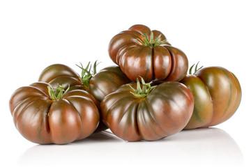 Lot of whole fresh tomato primora isolated on white background