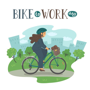 Bike to Work Day. Woman in formal clothes on bike with basket with lettering.