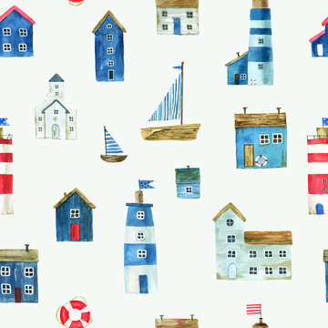 Seamless pattern with nautical theme, cute houses, lighthouses and boats for your design. Watercolor illustration. For fabric, scrapbooking, wrapping paper and more.