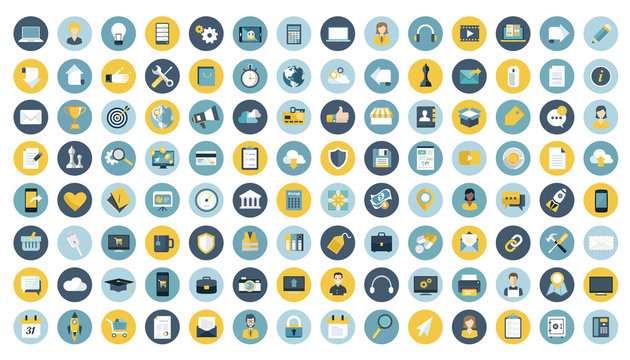 Business, management, finances and technology icon set for website and mobile applications. Flat vector illustration