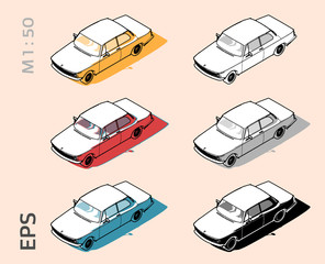 Retro old bmw car vector icons set for architectural drawing and illustation, iso view