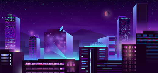 Canvas Prints Violet Modern city night skyline with illuminated skyscrapers buildings neon color cartoon vector illustration. Metropolis downtown streets. Urban architecture background with business centers, condominiums