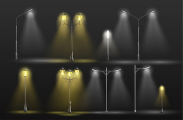Various city street lights glowing in darkness yellow warm and cold white light 3d realistic vector set with old-fashioned, retro lampposts and modern electrical road lamps illustrations collection Fotomurales